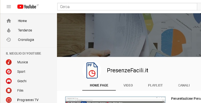 Canale YouTube Presenze Facili